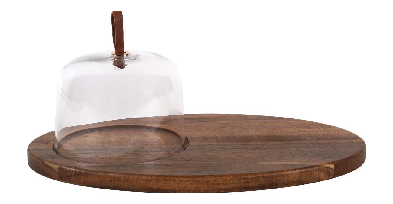 Sole Cheese Platter With Wood Base Clear  data-src=