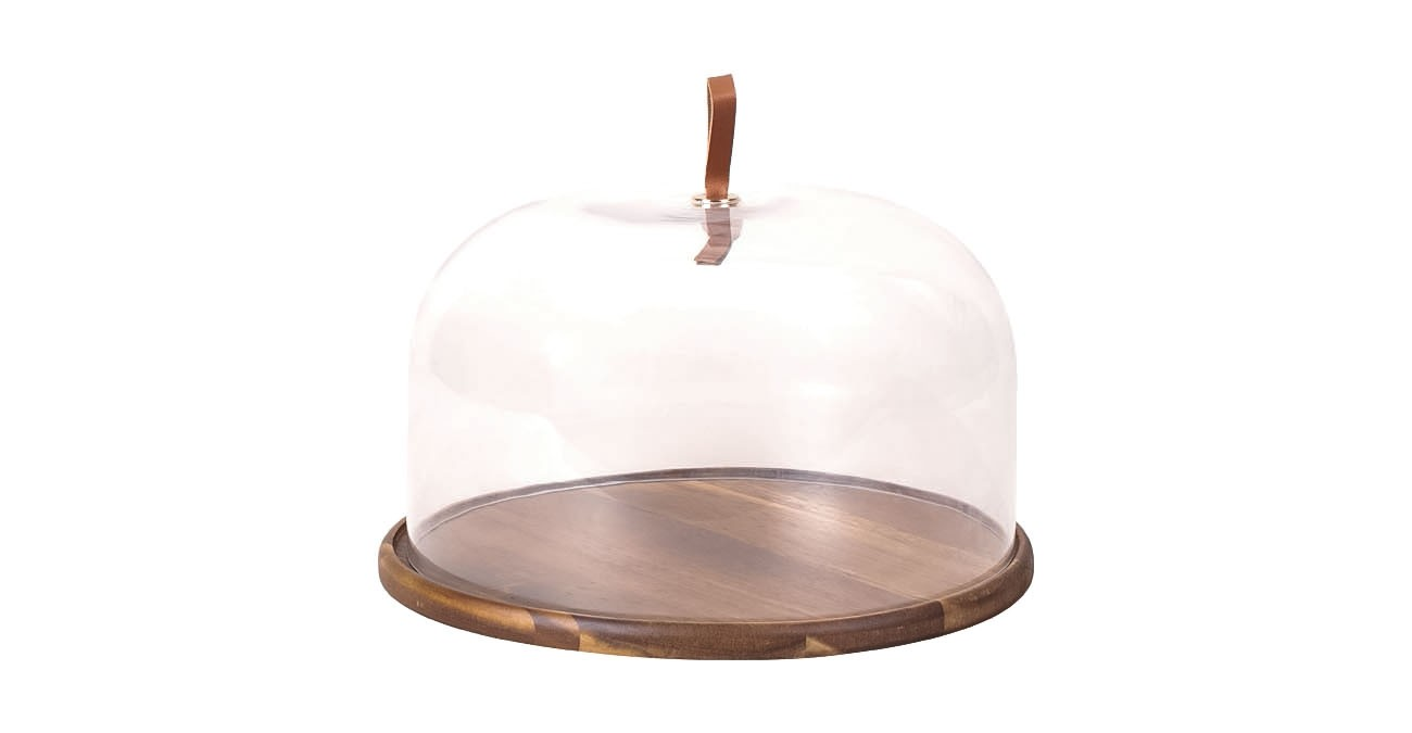 Sole Cake Platter With Wood Base Clear  data-src=