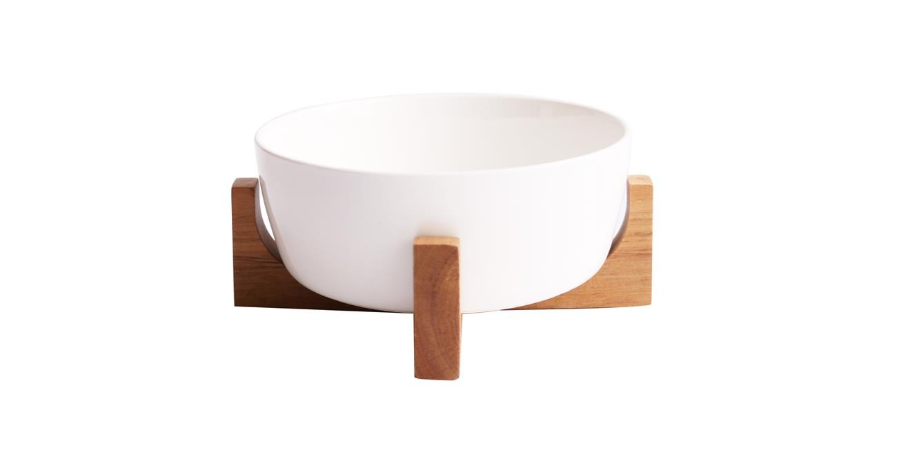 Sole Serving Bowl With Stand 16 cm White  data-src=