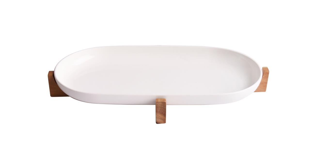 Sole Serving Dish With Stand 28  cm White  data-src=