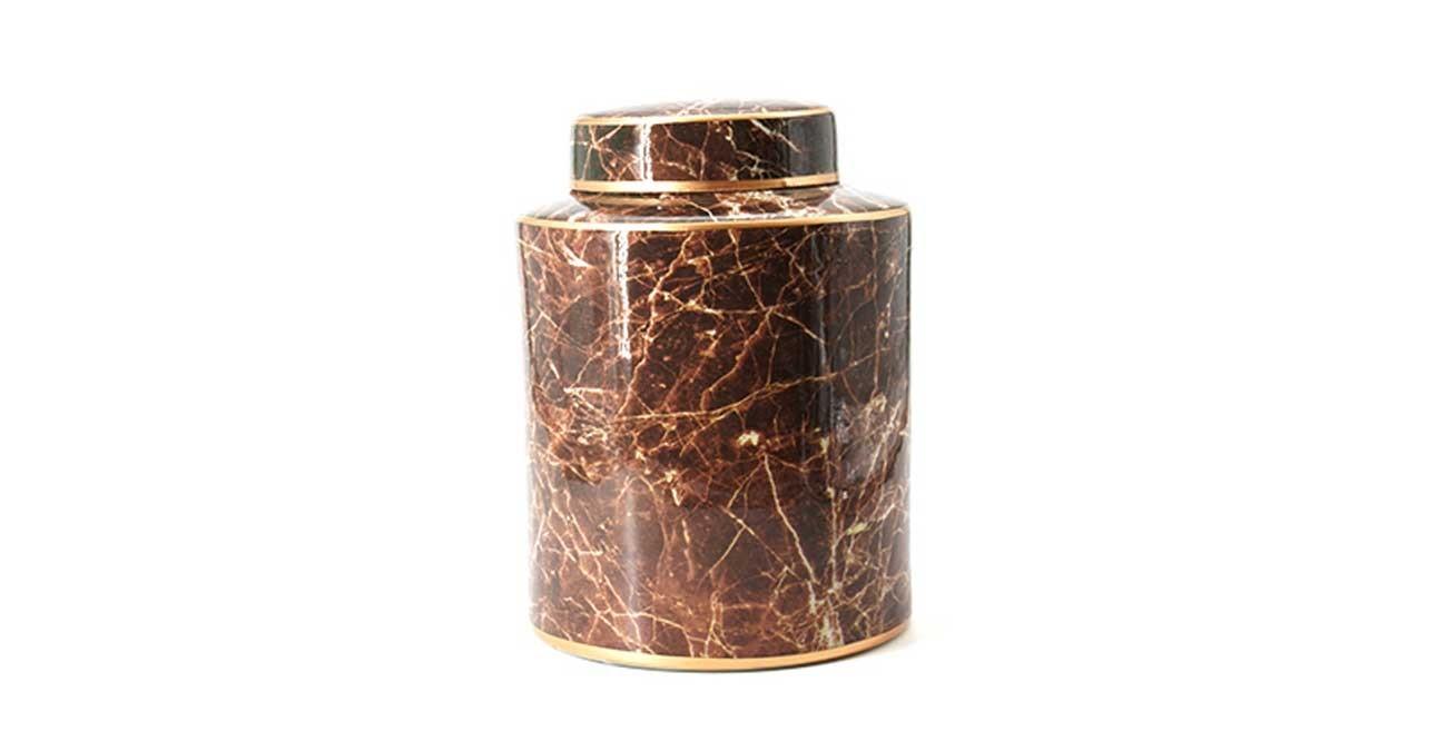 Mia Lidded Jar Brown 9 cm  data-src=