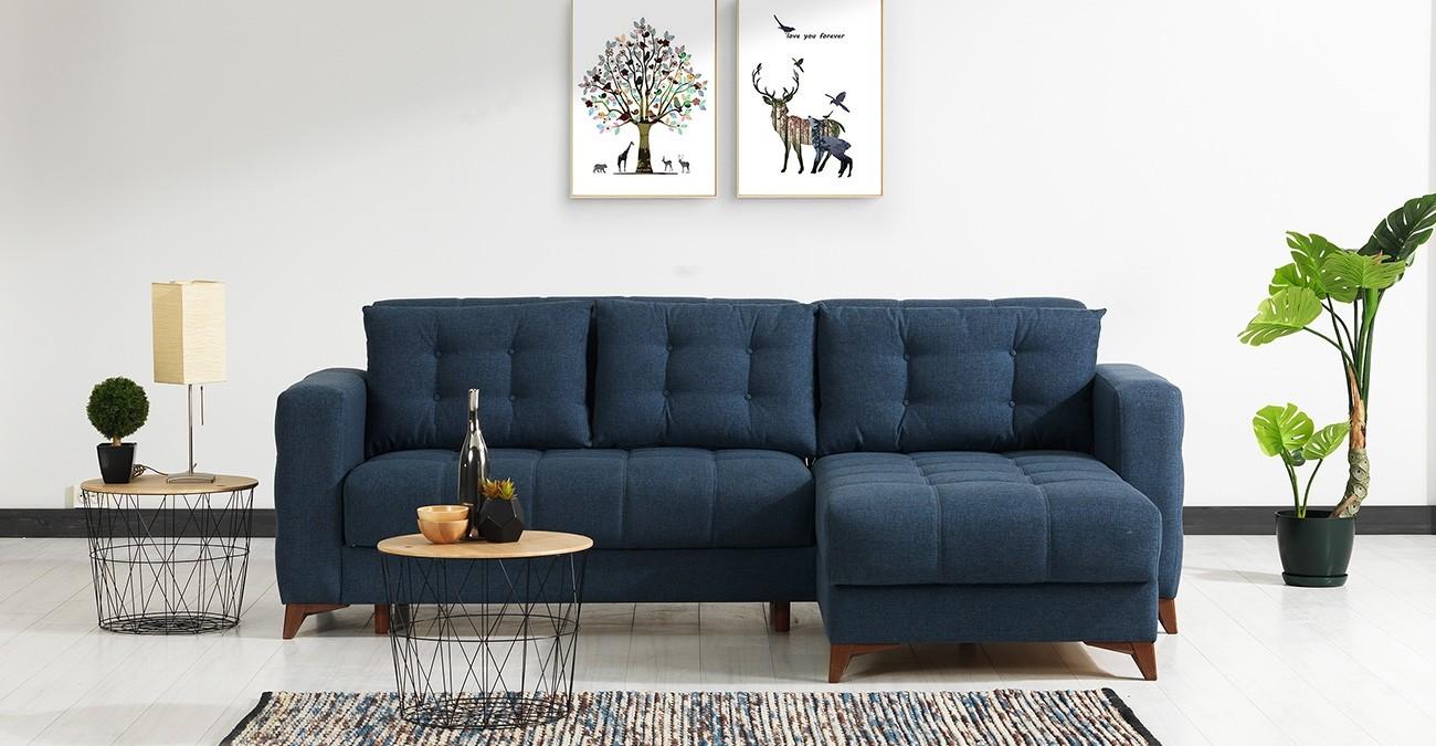 Elza Blue Corner Sofa and Sofa Bed  data-src=