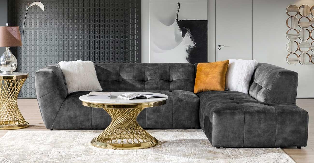 Baku Corner Sofa, Grey  data-src=