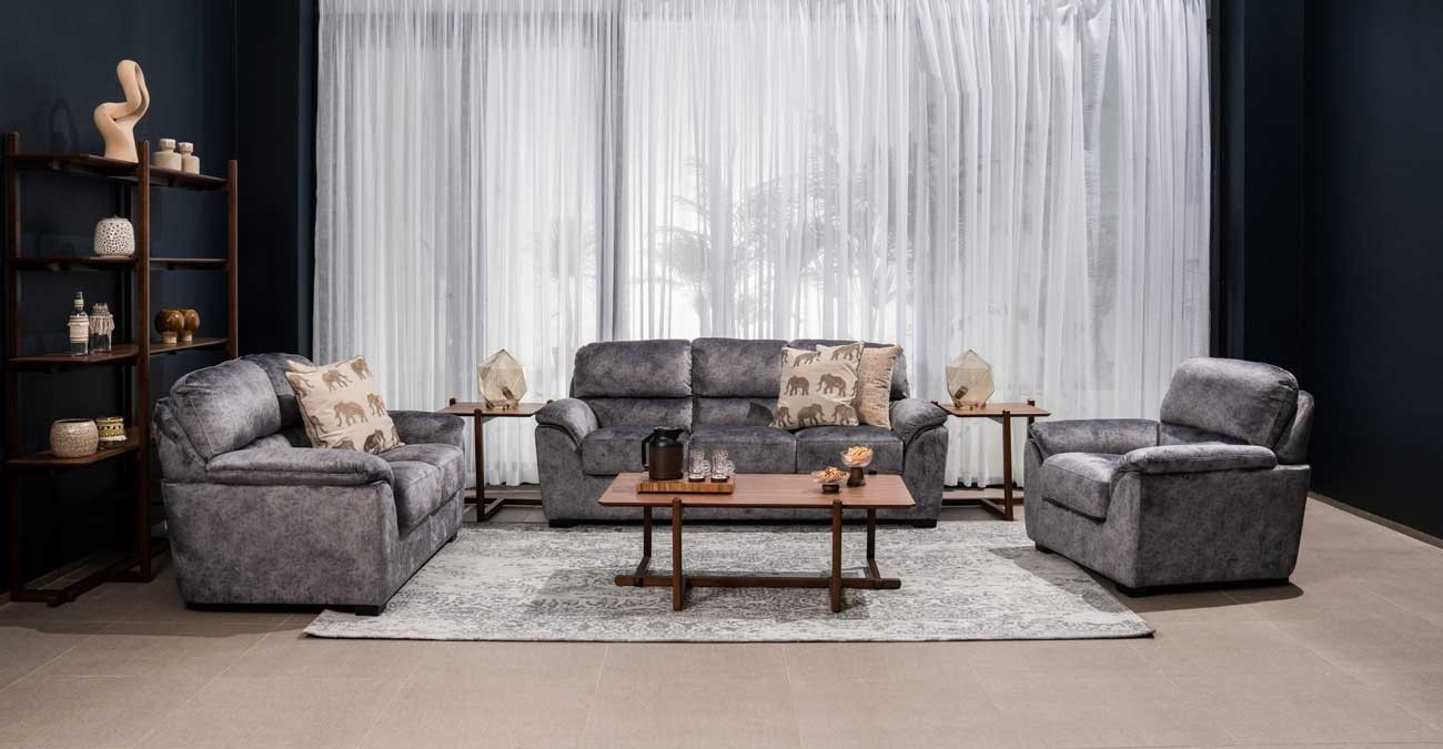Perona Sofa Set Dark Grey  data-src=