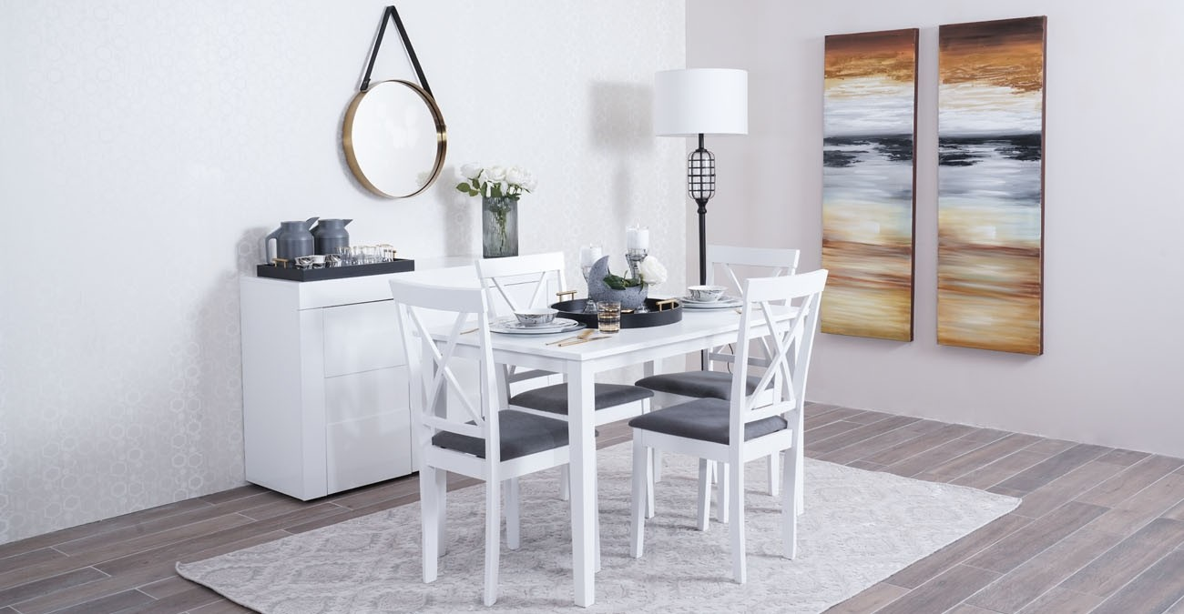 Cailey Dining Set, White  data-src=
