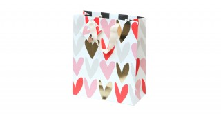 Gift Bag - Hearts - Gold Foil Small