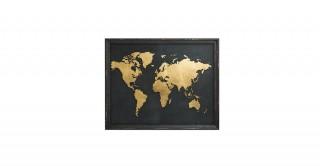 Hue Foil World Blk/Gold Wall Art