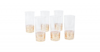 Uvan 6 Piece 450Ml High Ball Glass Gold