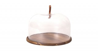 Sole Cake Platter With Wood Base Clear