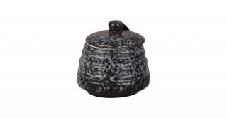 Carrara Lidded Jar Black 12 cm