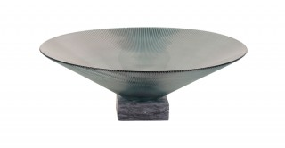 Teo Deco Bowl Green With Marble Base 35Cm