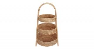 Rattan 3 Tier Fruit Basket Antique Brown