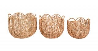 Herringbone Round Baskets Set Of 3