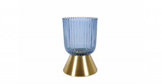 Cone Candle Holder Blue 13 cm