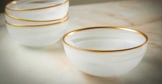 Alabaster Serving Bowl With Gold Rim 29 cm