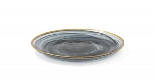 Alabaster Dinner Plate Black Gold Rim 28 cm