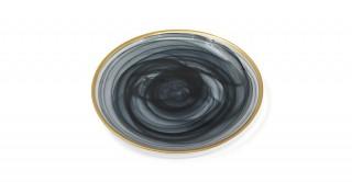 Alabaster Salad Plate Black Gold Rim 21 cm