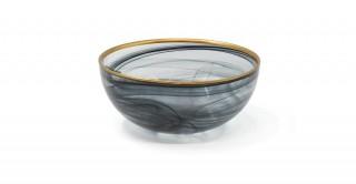 Alabaster Serving Bowl Black Gold Rim 15 cm