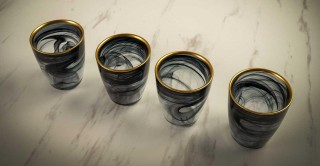 Alabaster Cup Black Gold Rim 8.6 cm