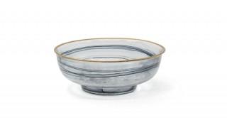 Alabaster Serving Bowl Black Gold Rim 21 cm