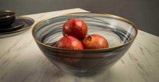 Alabaster Serving Bowl Black Gold Rim 29 cm