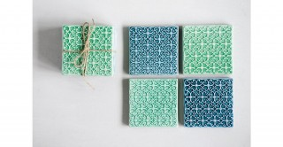 Square Stoneware Coasters (Set of 4 Pieces)