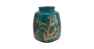 Teal and Gold Etched Design Glass Vase