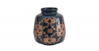 Blue and Copper Etched Design Glass Vase