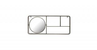 Metal Framed Mirror with 2-Tier Wall Shelf