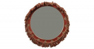 Round Embroidered Cotton Framed Mirror with Fringe