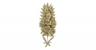 Distressed Metal Tole Floral Wall Decor with Accents