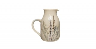 Stoneware Debossed Floral Pitcher 32 oz. (Each One Will Vary)