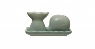 Aqua Stoneware Whale Salt and Pepper with Tray (Set of 3)