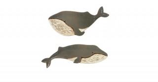 Grey Stoneware Whale Plates (Set of 2)