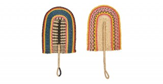 Handwoven Decorative Seagrass Fan Wall Hanging (Set of 2 Colors)