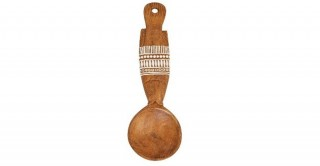 Fish-Shaped Mango Wood Wall Spoon with Hand-Painted Pattern
