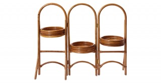 Rattan Natural Plant Stand With 3 Panel