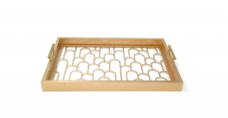 Flow Rect. Cut Outs Tray Gold 52 cm