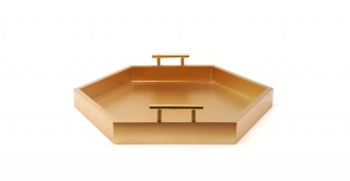 Hebe Hexagon Cut Outs Tray Gold 45 cm