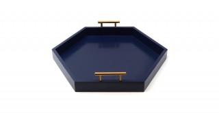 Hebe Hexagon Cut Outs Tray Dark Blue 45 cm