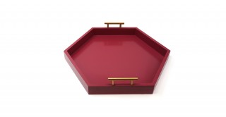Hebe Hexagon Cut Outs Tray Burgundy 45 cm