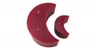 Diya Moon Candle Burgundy Set of 2