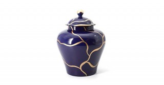 Michi Lidded Jar Dark Blue 19 cm