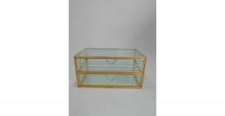 Canna Glass Decorative Box Gold 20.5 cm