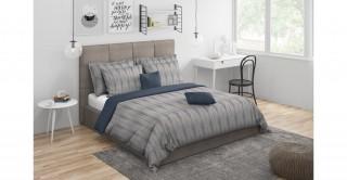 Gatsby Comforter Set 5Pcs, Grey Queen Size
