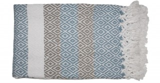 Stripe Woven Throw Blue 170 cm