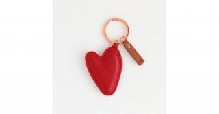 Red Pebble Heart Keyring