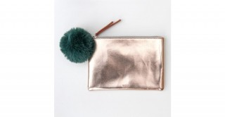 Rose Gold Pouch With Green Pom