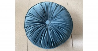Pleated Round Cushion Blue