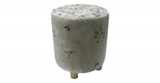 Jollity Embroideryidered Stool Silver 30 cm